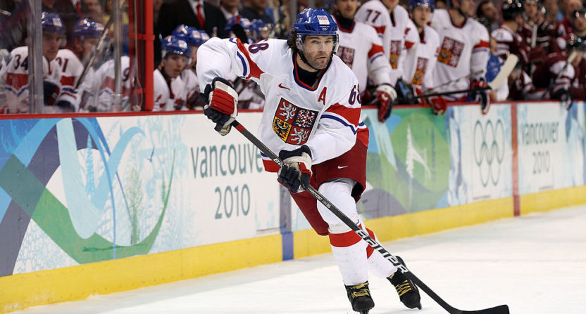 Jaromir Jagr, seen in the 2010 Olympics, may play in the 2018 Games.