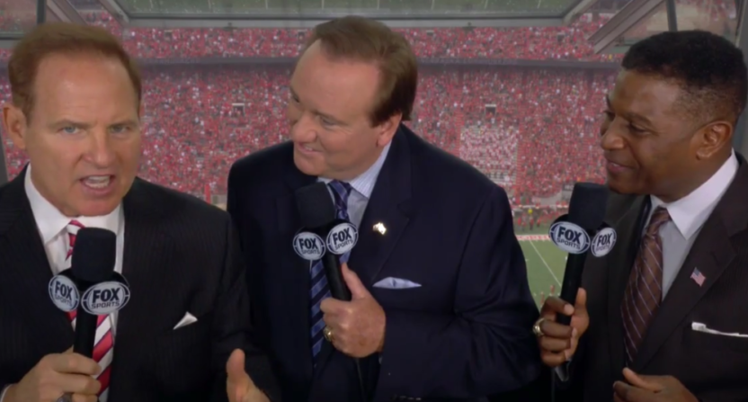 Les Miles rooted for Nebraska pretty openly in the FS1 booth with Tim Brando (C) and Spencer Tillman (R) Saturday.