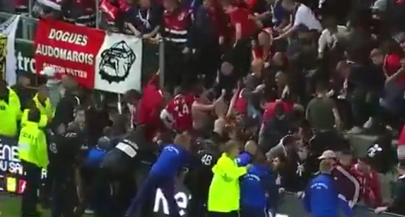 This collapsed barrier in Lille-Amiens led to serious injuries and the game being abandoned.