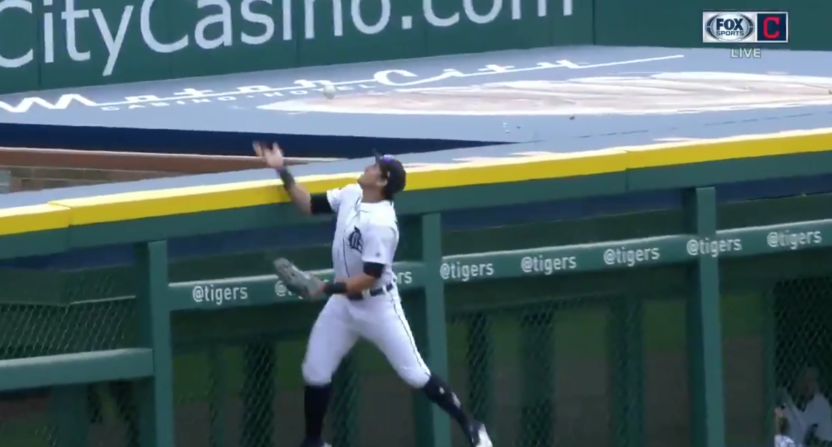 The Tigers Left Fielder Swatted A Fly Ball Over The Fence For The
