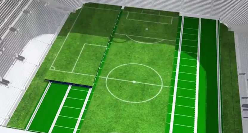 A video showing plans for Tottenham's new retractable pitch.