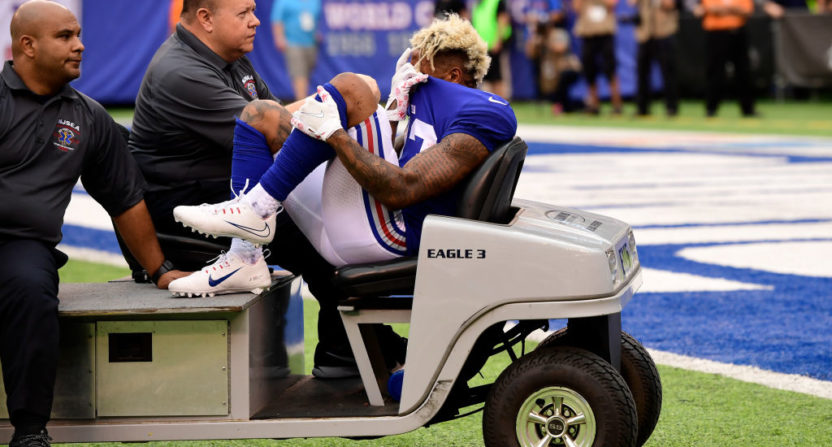 Odell Beckham Jr  carted off after reportedly suffering