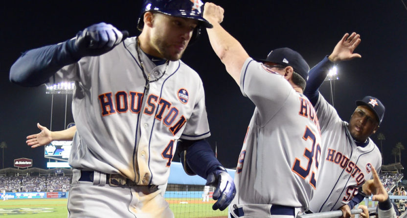 Wednesday's World Series game saw George Springer (#4) and the Astros wind up celebrating.