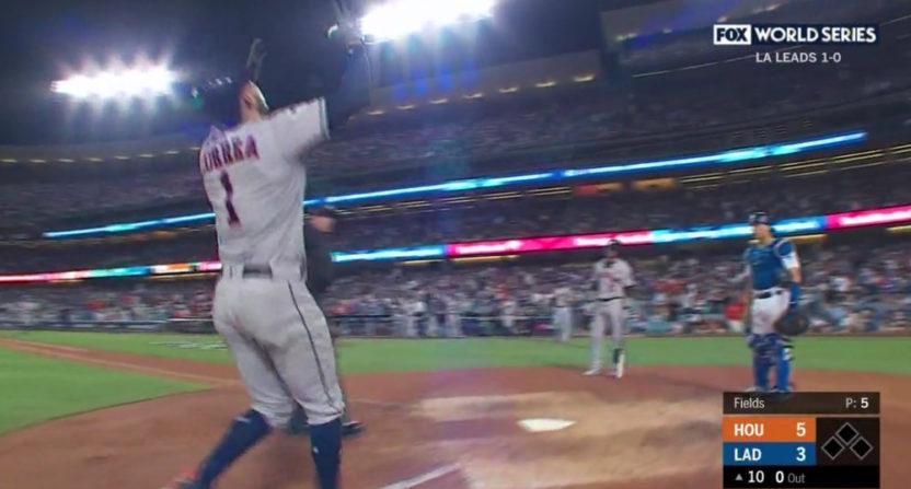 Carlos Correa celebrates a home run.