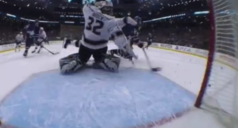 Kings' goalie Jonathan Quick was belatedly removed and rapidly returned Monday night.