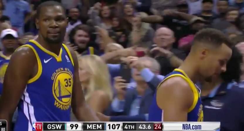 Kevin Durant and Steph Curry were both ejected Saturday.
