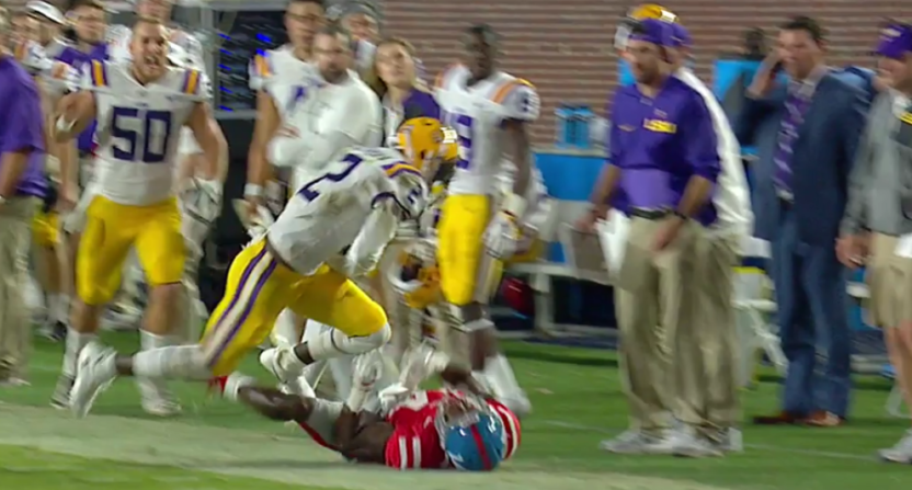 LSU's Kevin Toliver II made this crazy pick.