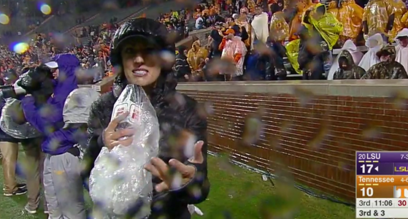 Allison Williams covered LSU-Tennessee in the rain..
