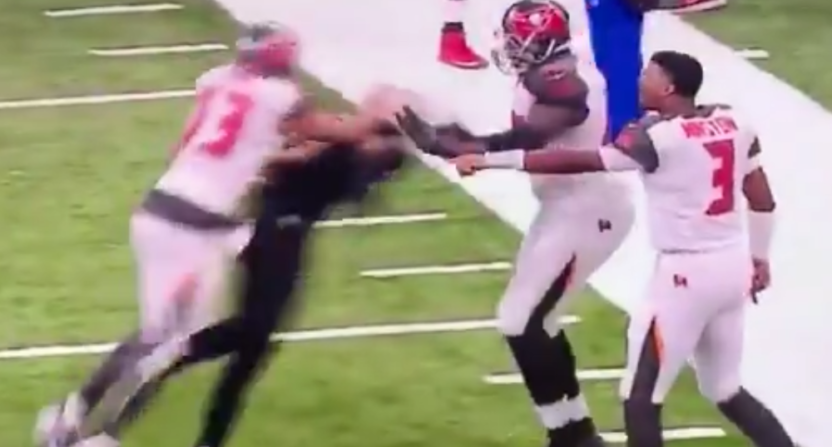 Mike Evans hit Marshon Lattimore from behind, starting a fight.