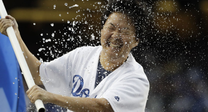 The Astros splashed Ken Jeong ahead of Game 7 Wednesday.