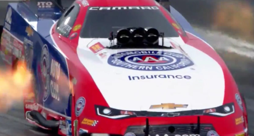 This explosion sent Robert Hight's car into the safety net, but he still competed in the final and won the Funny Car overall title.