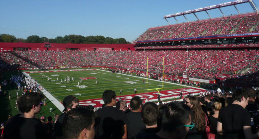 Rutgers asked fans to leave the stadium to use portable toilets.