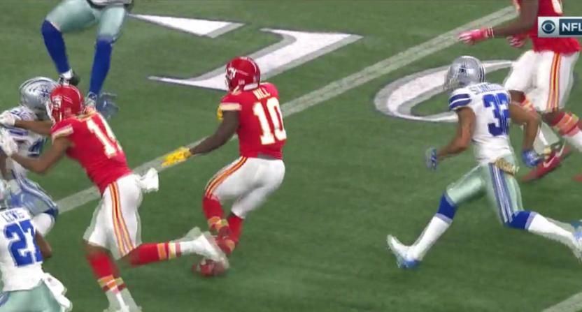 Chiefs' receiver Tyreek Hill ran through half the Cowboys' defense for this half-ending touchdown.