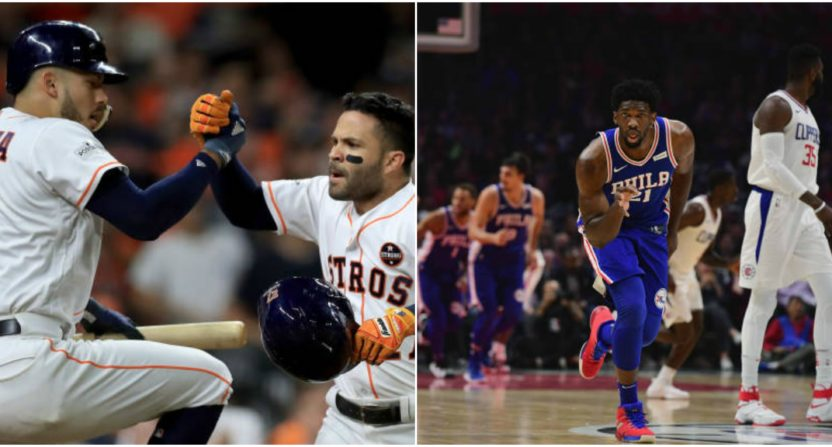 houston astros-philadelphia 76ers-joel embiid-carlos correa-trust the process-ben simmons