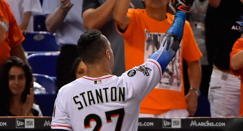 sneakers for cheap 1611f 28bf9 Giancarlo Stanton thanks Marlins fans, throws shade at ...