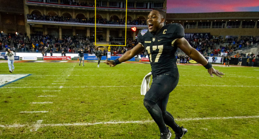 Ahmad Bradshaw celebrates Army's Armed Forces Bowl win.