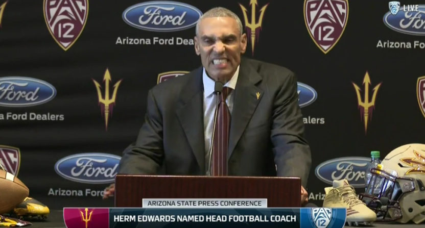 Herm Edwards at his introductory press conference at Arizona State.