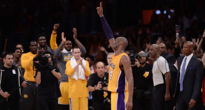 Kobe Bryant in his final game in April 2016.