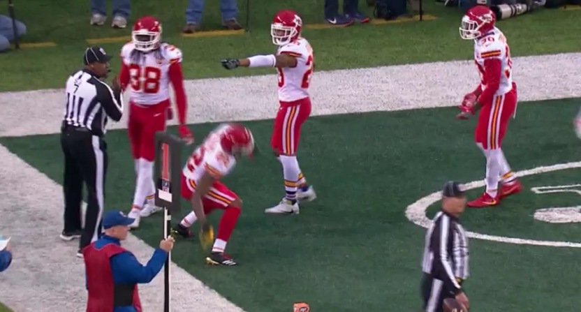 Marcus Peters threw a flag into the stands.