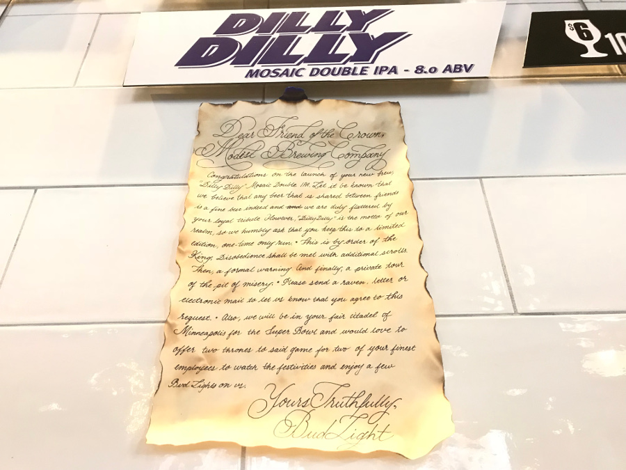 The Dilly Dilly cease and desist scroll.