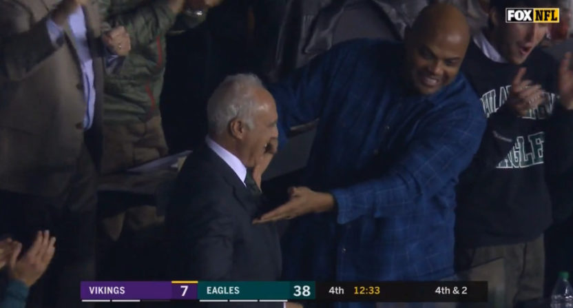 Charles Barkley with Jeffrey Lurie at Sunday's Eagles game.