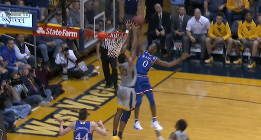 WVU's Sagaba Konate laid down the law with this block.