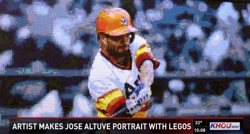 A Houston-area artist has created a LEGO tribute to Jose Altuve of the Astros. Photo: KHOU