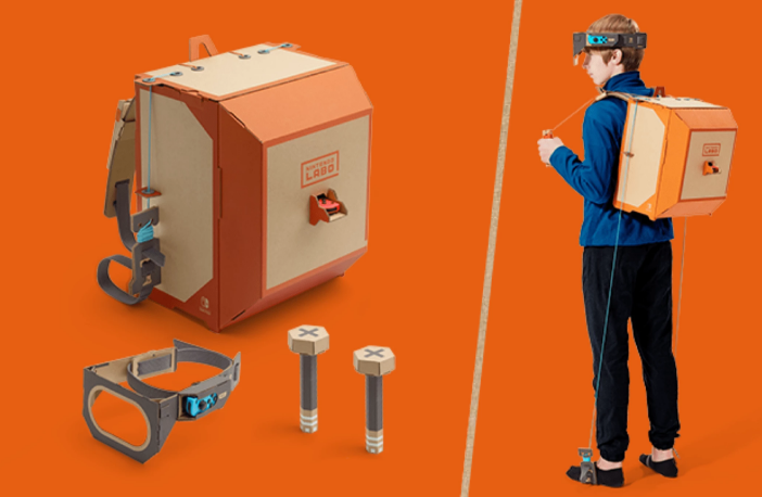 Nintendo Labo's Robot Kit suits you up with a robot pack, complete with pulley system mechanics.