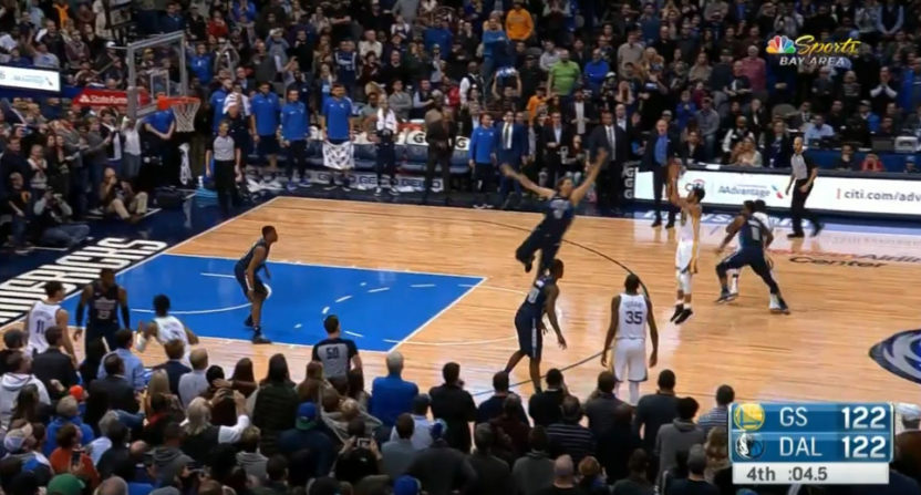 Steph Curry drained this shot against Dallas.