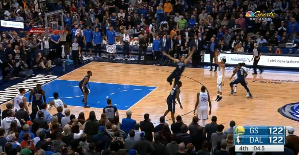 Golden State Warriors Home Court >> Steph Curry calmly drains a long three for the win against the Mavericks