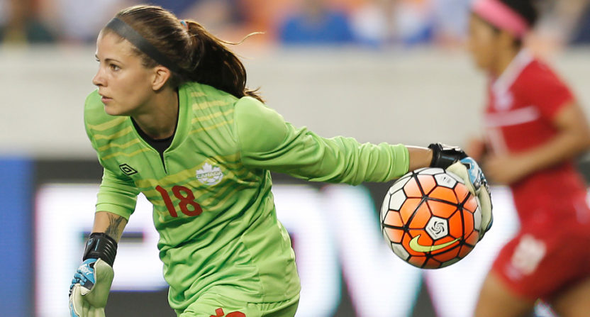 Canadian women's soccer goalie Steph Labbe playing against the U.S. in the 2016 Olympic qualifiers.