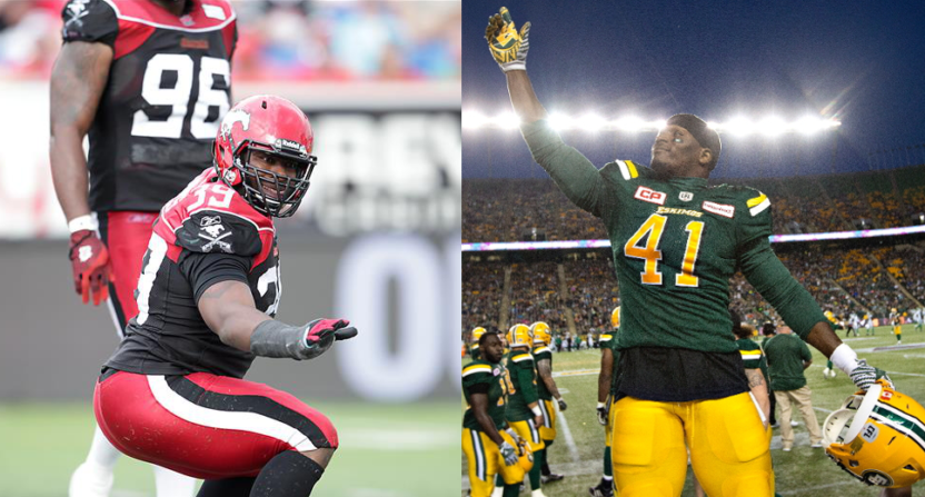 CFL players Charleston Hughes (L) and Odell Willis were both traded twice Friday.