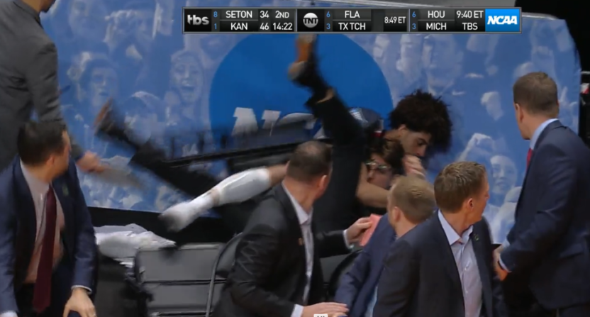 Gonzaga's Josh Perkins went flying into his own bench Saturday.
