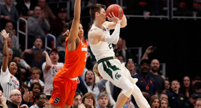 Matt McQuaid drilled this crazy buzzer beater for Michigan State.
