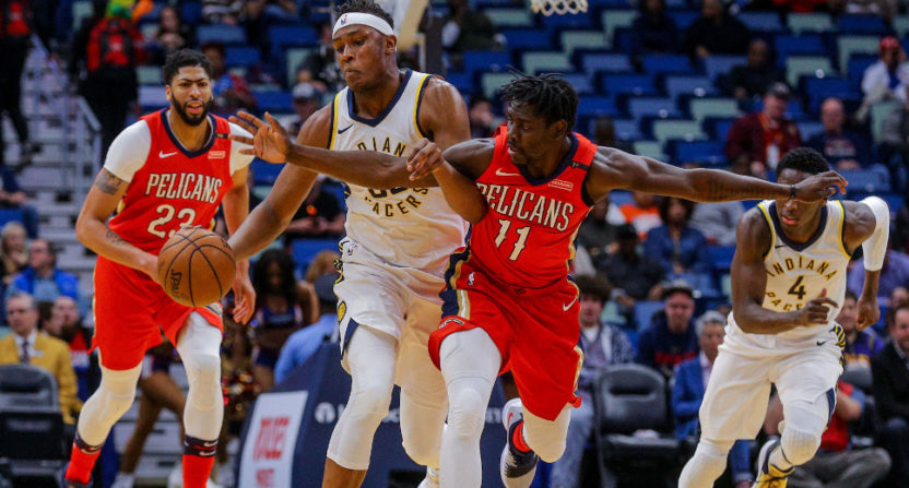 Myles Turner against Jrue Holiday Wednesday.