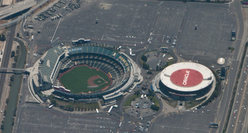 An overhead look at the Oakland-Alameda County Coliseum and Oracle Arena, a proposed site for a new A's ballpark.