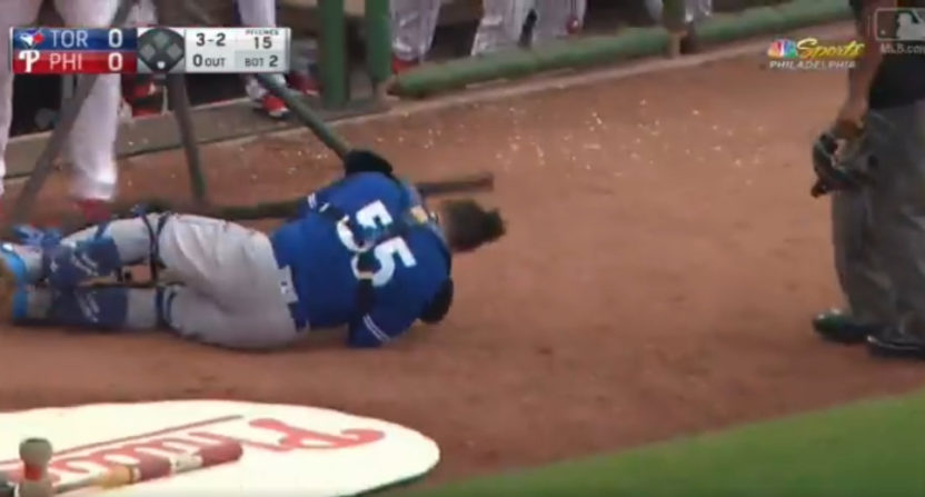 Russell Martin made a catch in a net, then the net fell on him.