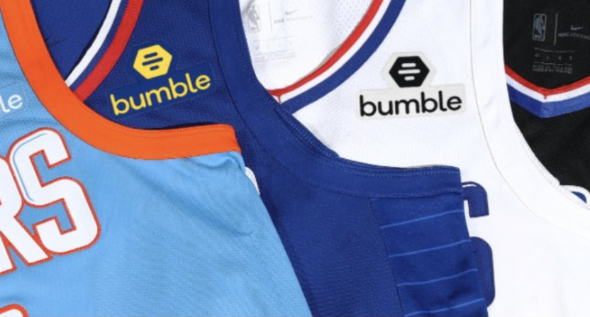 uk availability 968b3 00fcb LA Clippers reveal dating app Bumble as jersey sleeve sponsor
