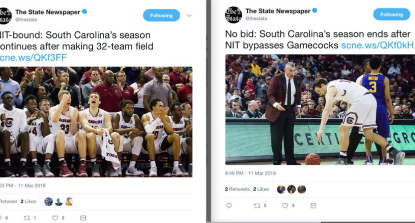 The State said South Carolina made the NIT. They didn't.