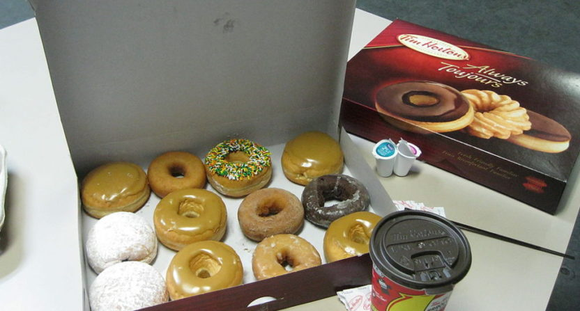 """Which donut are you?"" is now a CFL combine question. Dan Petermann answered with his favorite Tim Hortons go-to."
