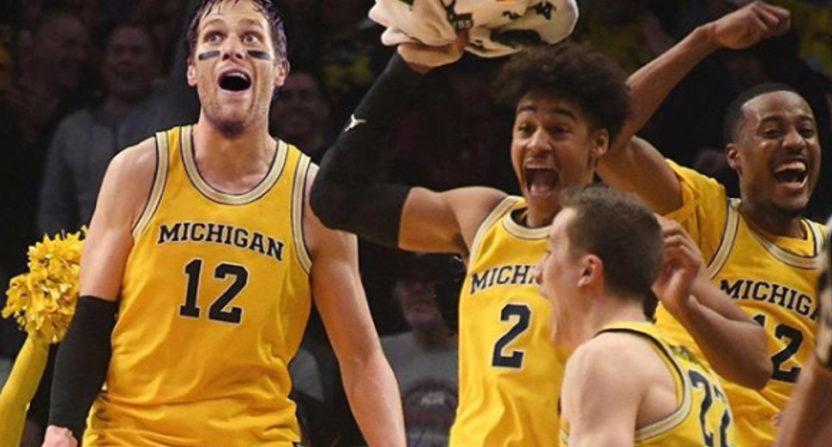 Tom Brady with a stellar Michigan basketball photoshop here.