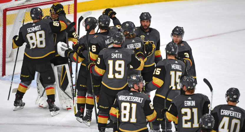 The Vegas Golden Knights celebrating their first playoff win.