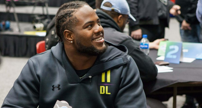 Kahlil McKenzie at the 2018 NFL combine.