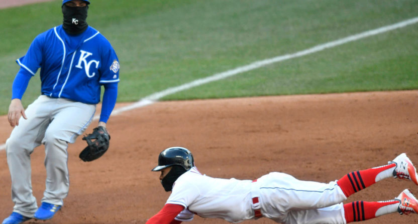 Francisco Lindor stealing third base..