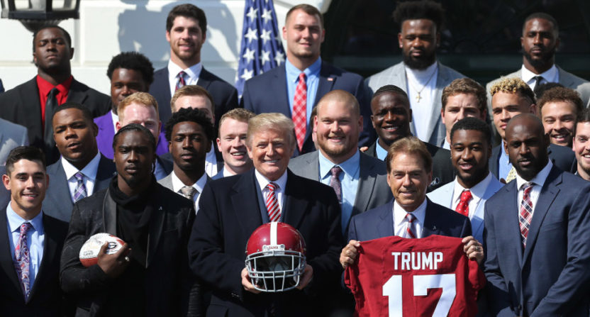 Nick Saban and the Alabama football team visited President Trump at the White House Tuesday.