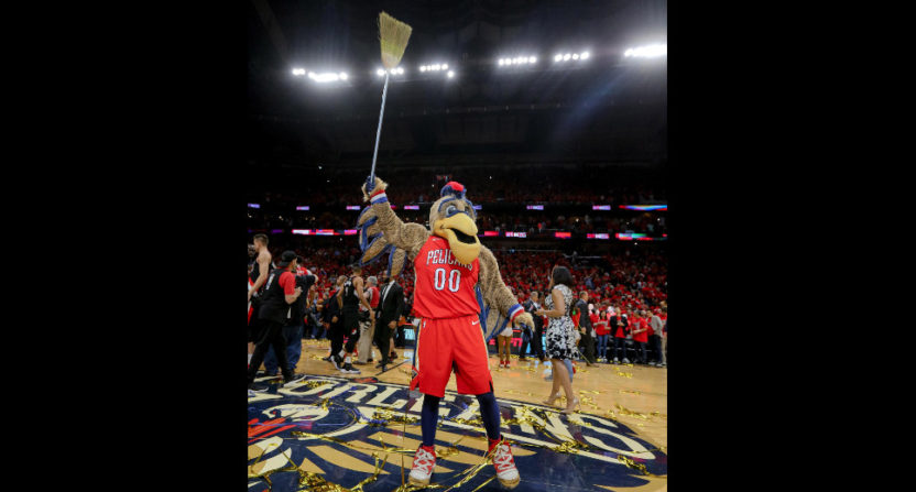 Pierre the Pelican celebrates the Pelicans' sweep, one ESPN didn't see coming.