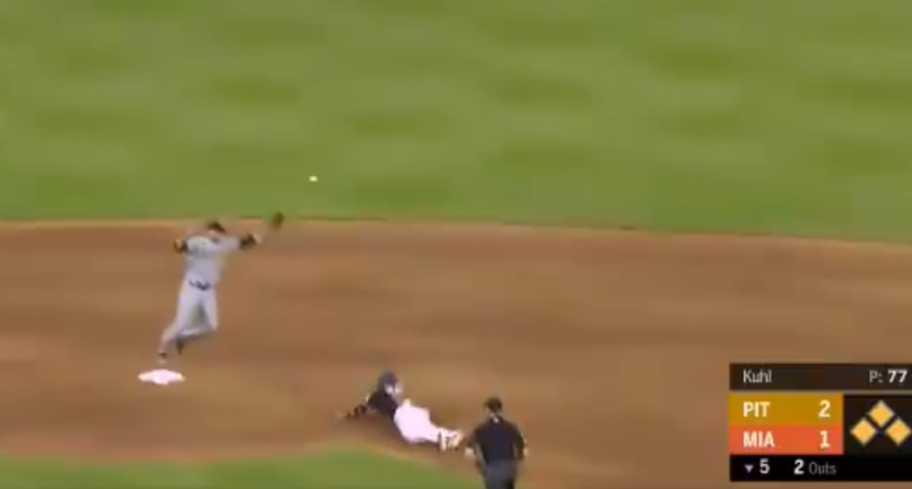 The Marlins scored three runs off a sacrifice fly thanks to this poor Pirates' throw.