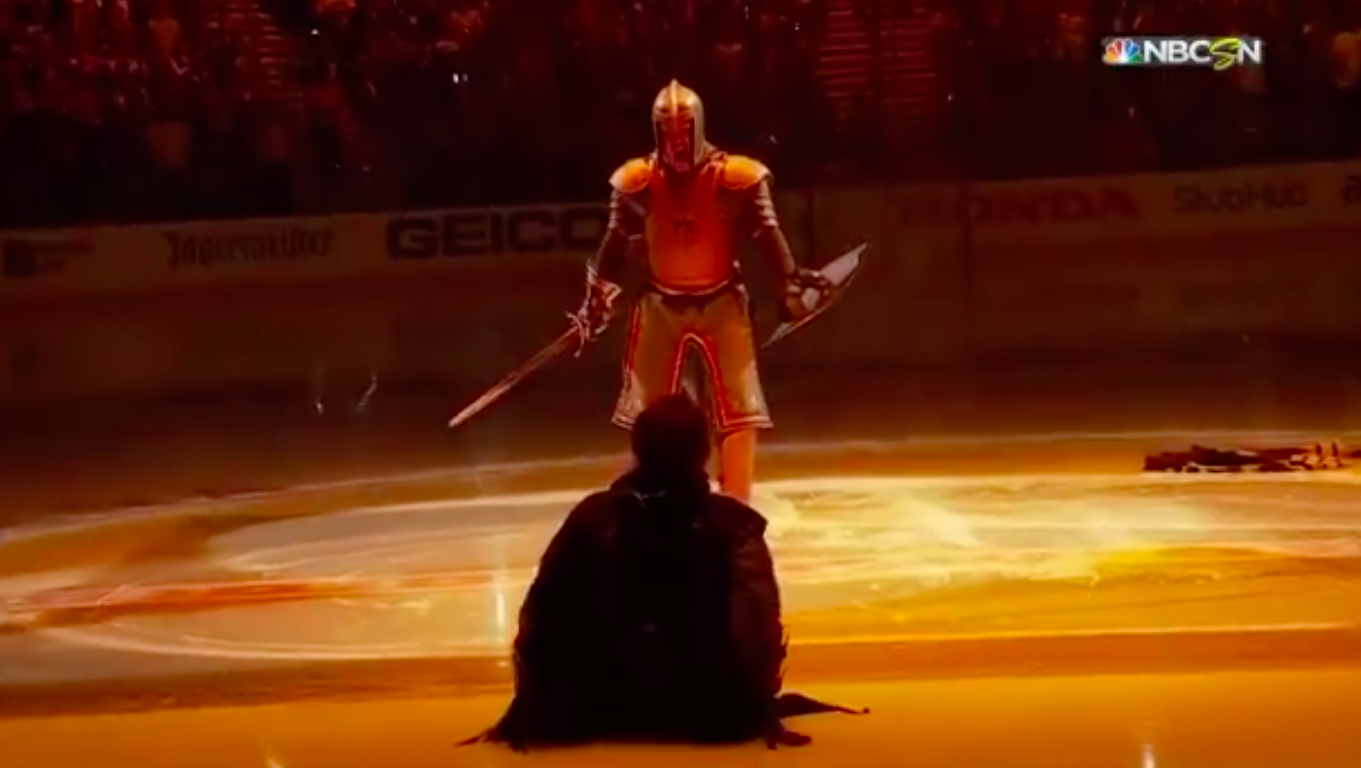Vegas Golden Knights put on playoff pre-game display ...