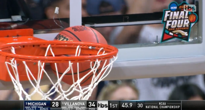 A ball got stuck on the rim during the title game thanks to a pair of Donte DiVicenzo blocks.