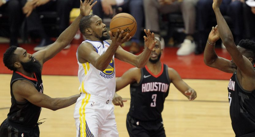 bf91d405a484 Warriors steal home-court advantage from Rockets as Kevin Durant is  straight-up unstoppable in Game 1 win